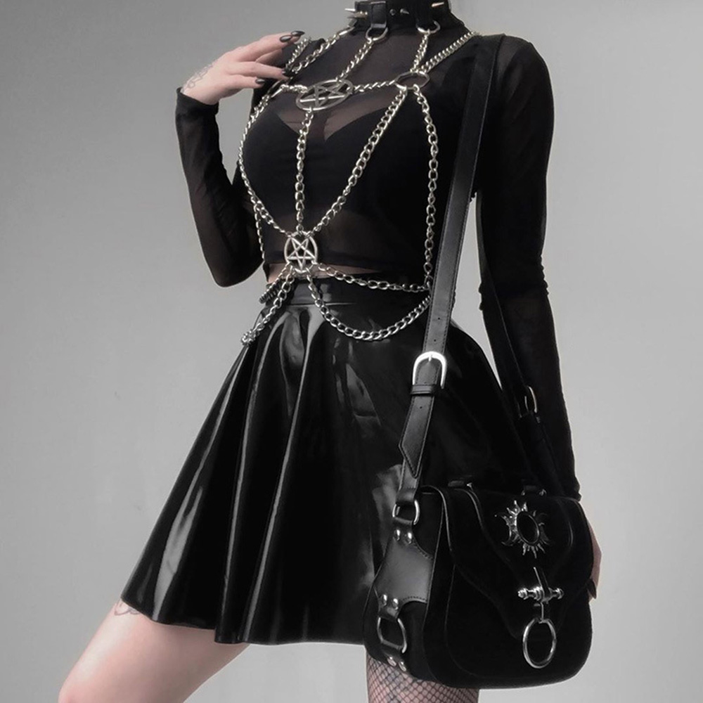 Gothic Necklaces Iron Chain Five-star Hanging Neck Jewelry Punk Sexy Corset Abstinence Tie Collar