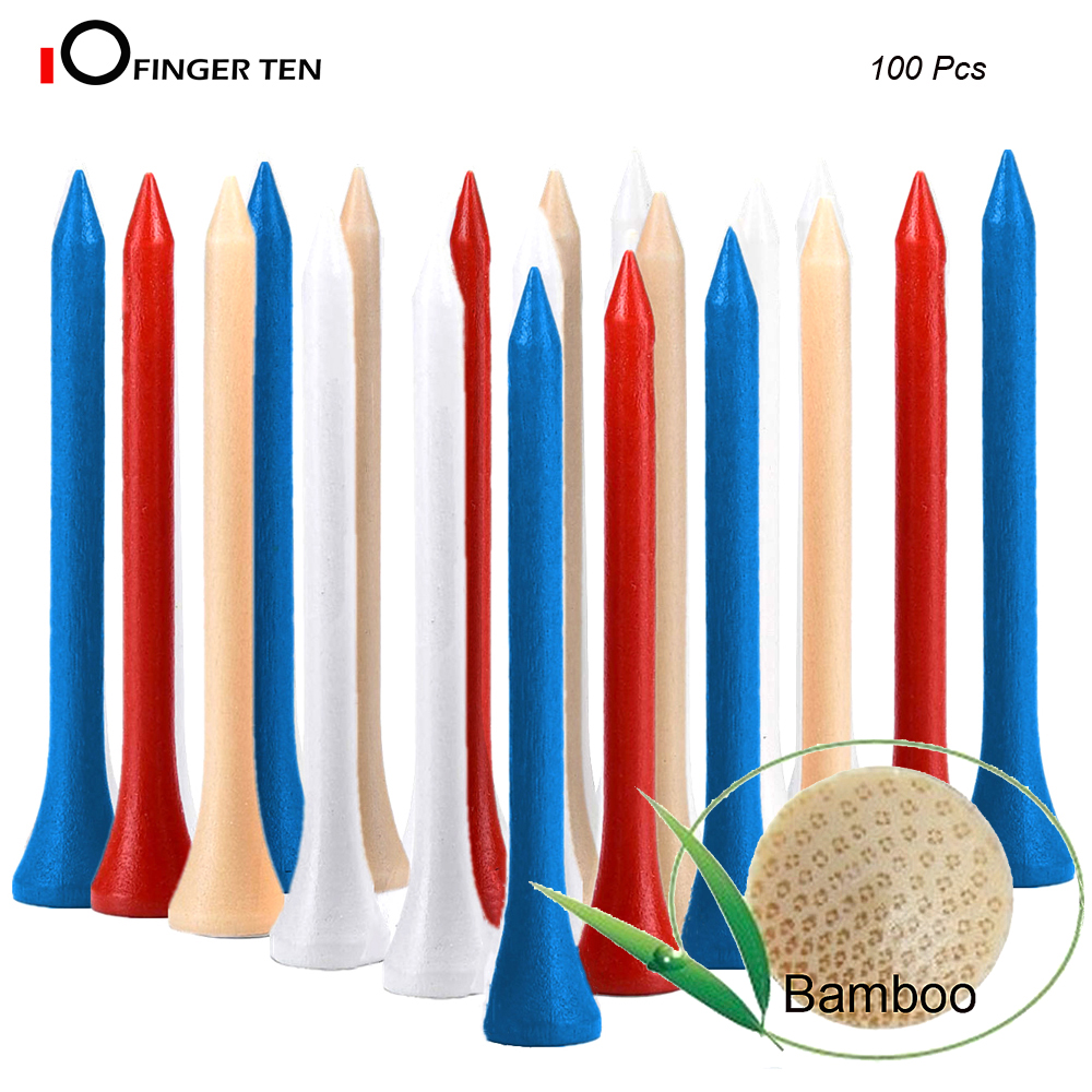 100pcs High Quality Hard Bamboo Golf Tees 70mm 5 Color Choices Available Golf Accessories Outdoor Sports