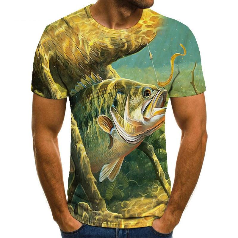 Funny Birthday Gifts Present Dad Him Father Fishinger T-Shirt 3D SEA Tuna Fish Printed T Shirt Men Fisherman Tshirt Streetwear
