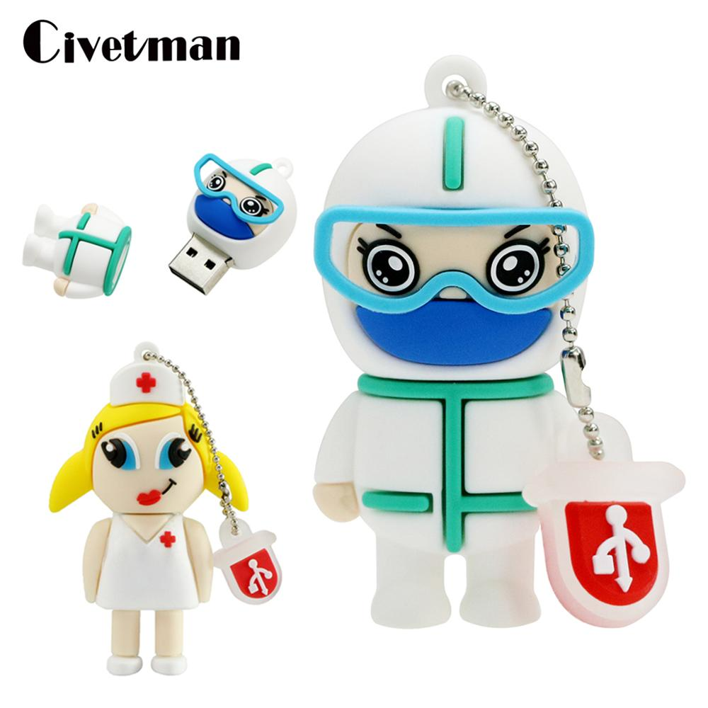 USB Flash Drive Cute Lsolation Suit Doctor Nurse Pendrive Thumb Drives 8GB 16GB 32GB 64GB 128GB Pendrive Memory Stick Cle USB title=