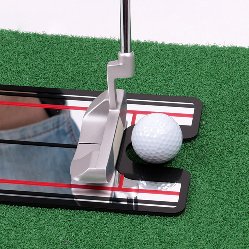 Golf Putter Mirror Plane Exerciser Indoor Outdoor Green Golf Practice Putting Hole Plate Golf Putting Training Aid 1pc