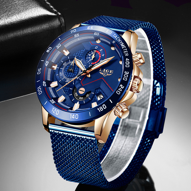 LIGE Mode Neue Herren Uhren Marke Luxus Armbanduhr Quarz Uhr Blau Uhr Männer Wasserdichte Sport Chronograph Relogio Masculino