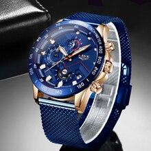 ליגע אופנה חדש Mens שעונים מותג יוקרה שעוני יד קוורץ שעון כחול שעון גברים עמיד למים ספורט הכרונוגרף Relogio Masculino