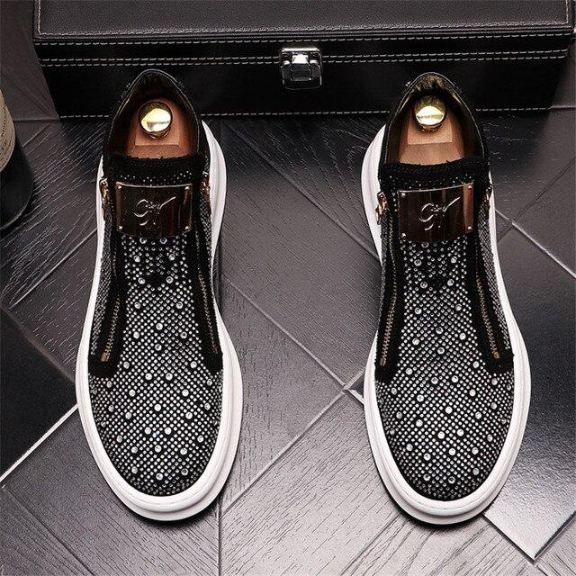 Zapatillas de deporte con cremallera para Hombre, zapatos planos informales Punk con diamantes de imitación brillantes plateados 4