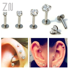 ZN 1 Pc Labret Lip Ring Zircon Anodized Internally Threaded Prong Gem Monroe 16G Tragus Helix