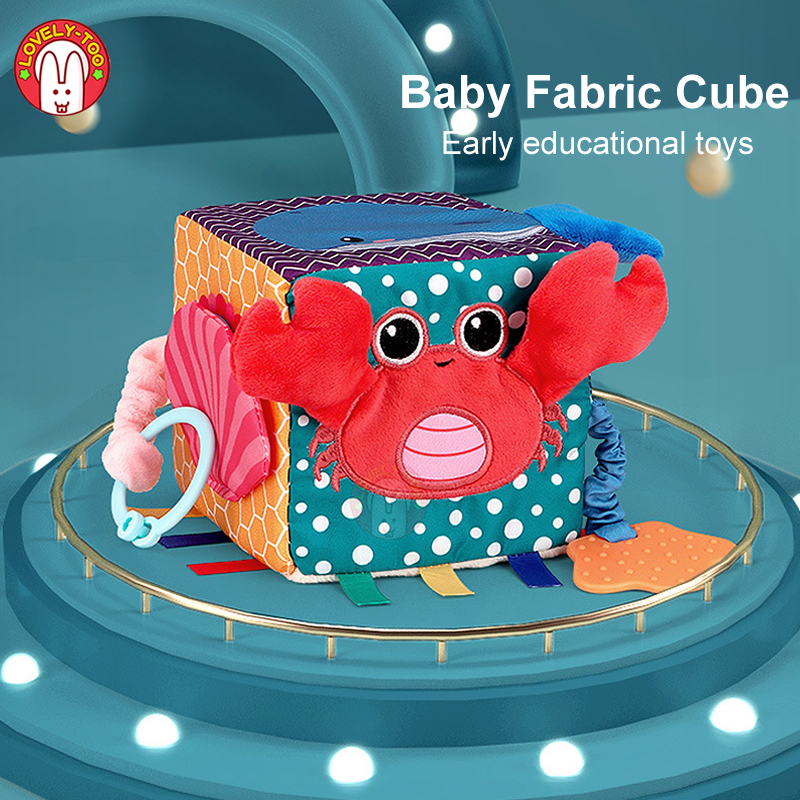 Baby Toys Cloth Cube Kids Activity Book Plush Block Clutch Rattles New Infant Soft Doll Early Educational Toy For 0-12 Months