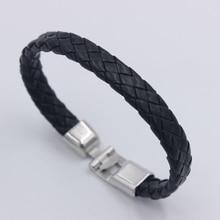 Pulseras de trenza negras baratas de moda novedosa de moda, joyería de cuero tejida suave cómoda Vintage para hombres y mujeres, regalo al por mayor