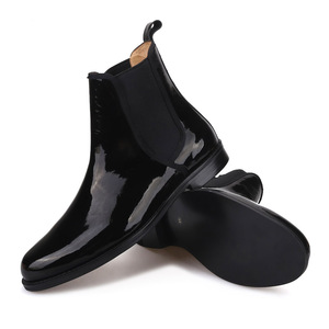 Image 5 - Piergitar 2019 British classic Black Patent leather Men Chelsea Boots Winter style handcrafted Mens casual boots plus size