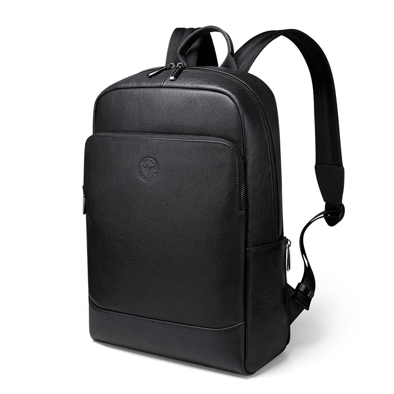 2020 Slim Laptop Backpack Men 15.6 Inch Office Work Genuine Leather Business Bag Unisex Black Ultralight Thin Back Pack PL7193