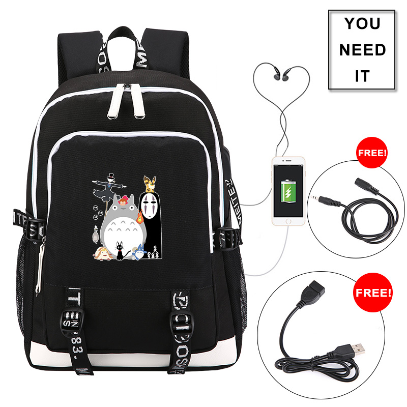 <font><b>Spirited</b></font> <font><b>Away</b></font> No Face Printing <font><b>Backpack</b></font> Totoro Anime Schoolbag Oxford Women Man <font><b>Backpack</b></font> Waterproof Laptop Bag Travel Bagpack image
