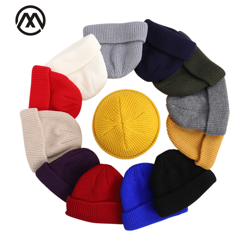 2019 Solid Color Knit Hat Men And Women Winter Cotton Cap Skullcap Melon Cap Warm Hat Casual Design Thick Autumn And Winter Peas