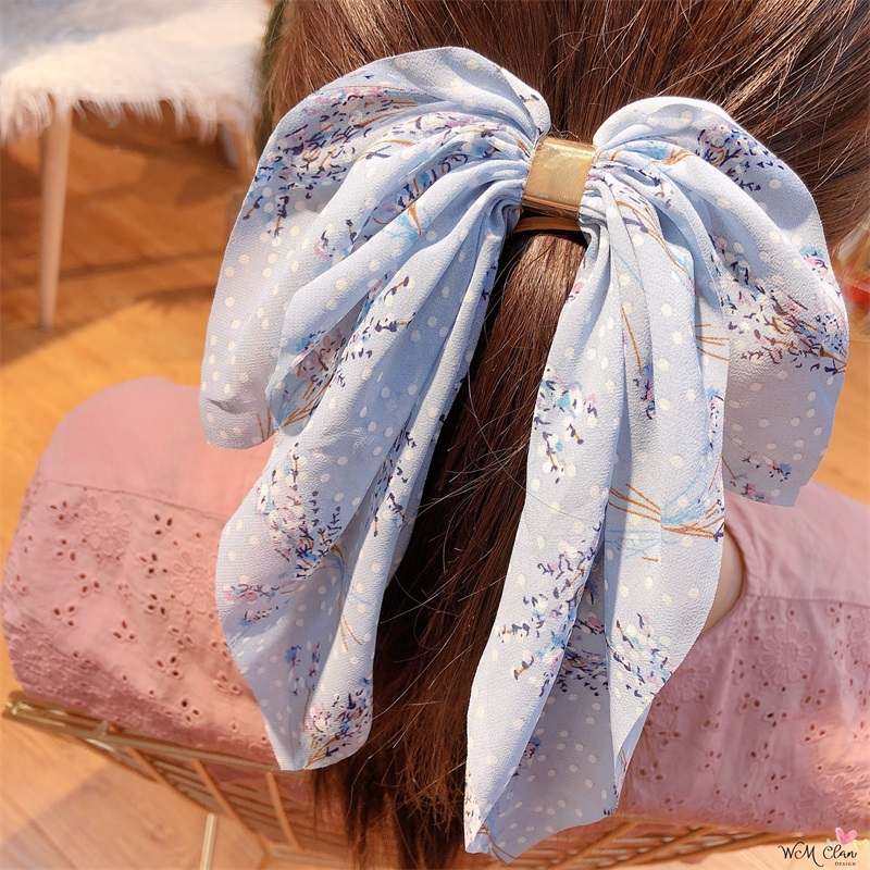 New Design Bow Hair Clip For Women Print Metal Hairband Clip Women Chiffon Bow Headwear Ponytail Holder Hair Accessories
