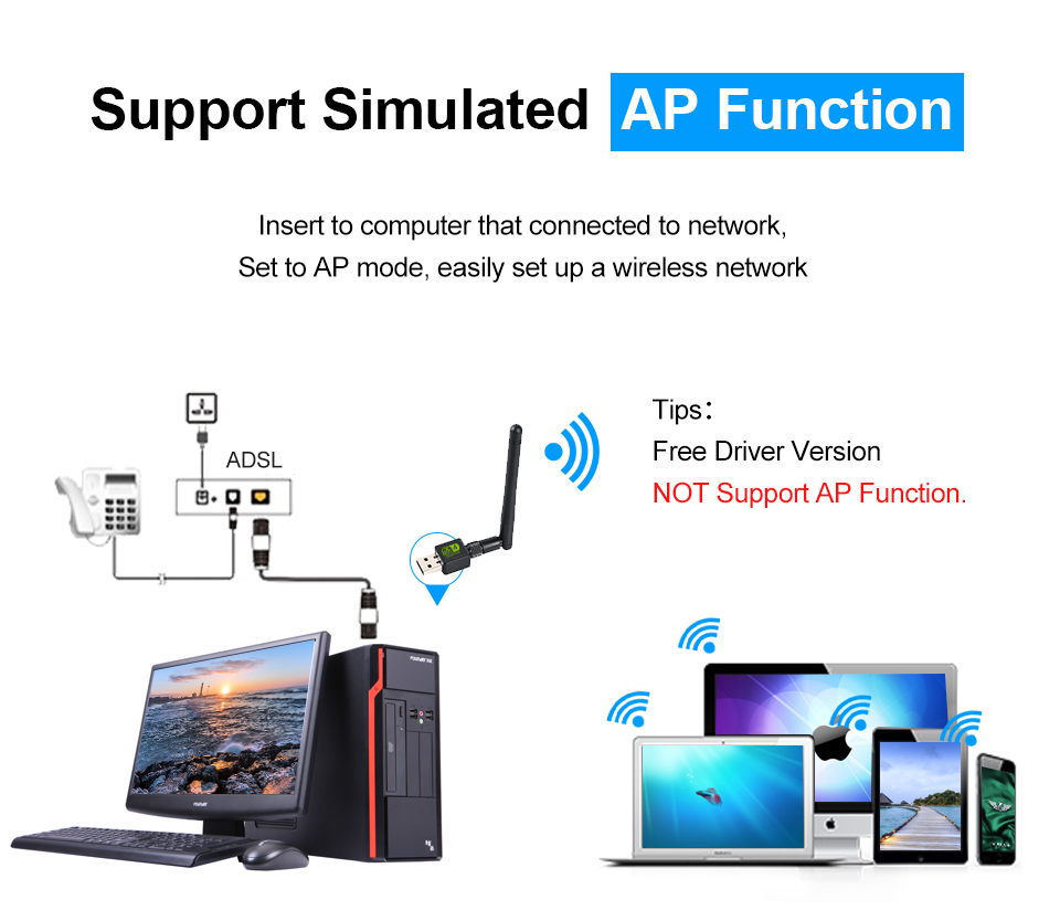 USB Wifi Adapter 150Mbps Antena Wi-Fi USB Adapter MT7601 Wi-fi Dongle Wireless Network Card Wai File Receiver Wi Fi Lan Ethernet 3