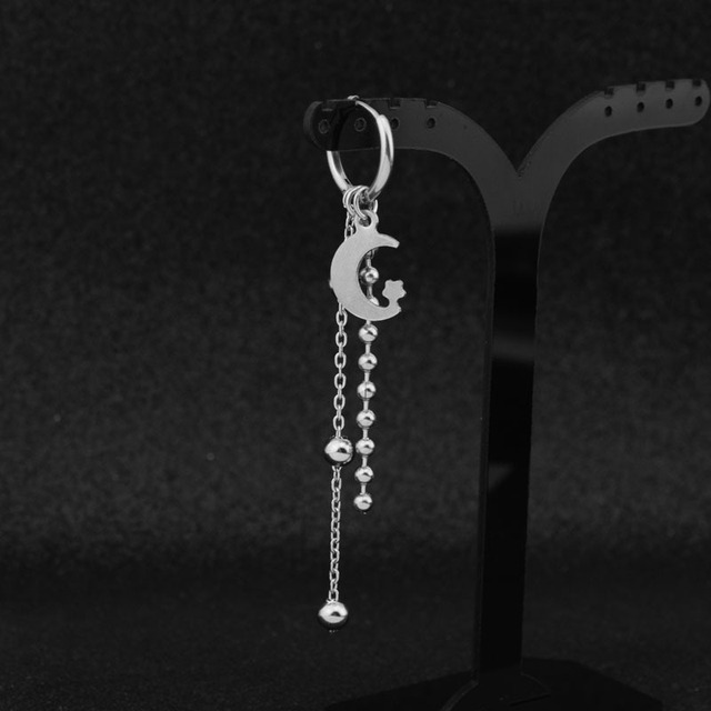 Suga Stainless Steel Punk Stud Earrings Moon Star Long Chain Pendant  2