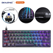 GK61 SK61 61 Chave Eixo Teclado Mecânico USB Teclado Com Fio LED Retroiluminado Gaming Mecânica Teclado Para O Desktop