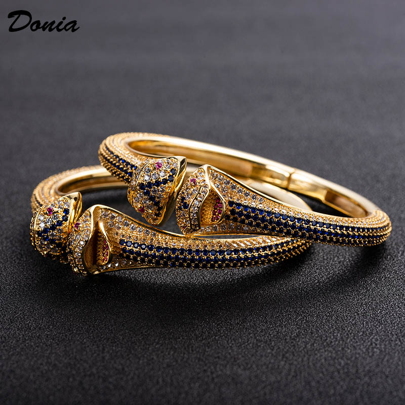 Donia jewelry fashion exaggerated European and American animal bracelet with AAA zirconia jewelry adjustable opening bracelet