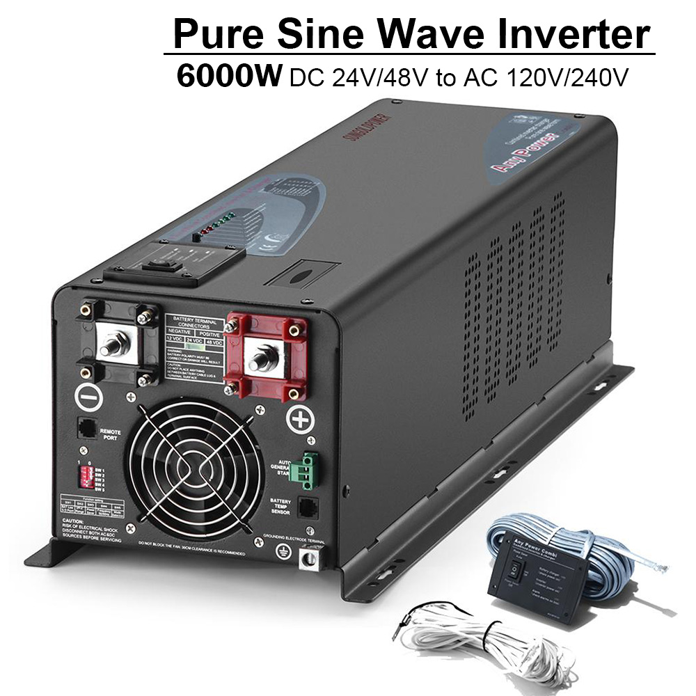 SUNGOLDPOWER <font><b>6000W</b></font> Pure Sine Wave Solar Power <font><b>Inverter</b></font> Battery Charger <font><b>24V</b></font>/48V DC to 120/240V AC Voltage Converter Home <font><b>Inverter</b></font> image