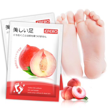 EFERO 3pair Exfoliation Feet Mask Whitening Peach Foot Peel Mask Remove Dead Skin Exfoliating Foot Mask for Pedicure Socks недорого