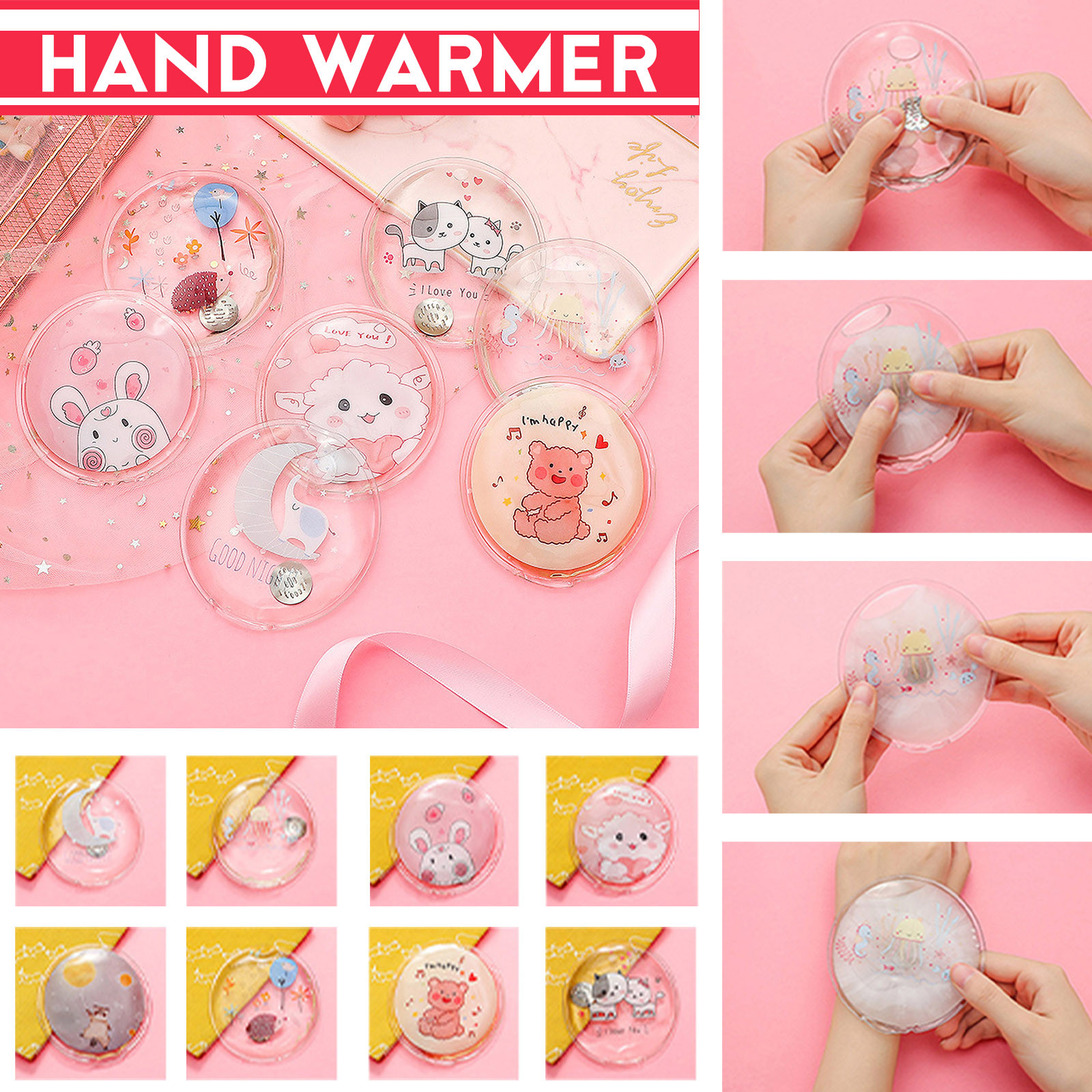Hand-Warmer Self-Heating-Gel Reusable Winter with Cute Animal-Print 60-Degree