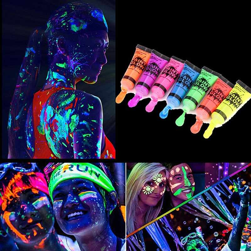 2020 New Body Art Paint Fluorescent Neon Party Festival Halloween Cosplay Performance Makeup Face Painting Glow Painted Pigment Aliexpress