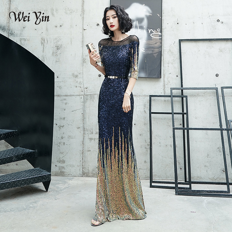 AE0143 Elegant Half Sleeves 2019 Long Evening Dresses Simple O Neck Sequins Evening Party Dress