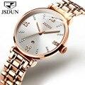 JSDUN Роскошные повседневные женские часы водонепроницаемые розовое золото сталь сетка кварцевые часы женские модные нарядные часы Relogio Feminino