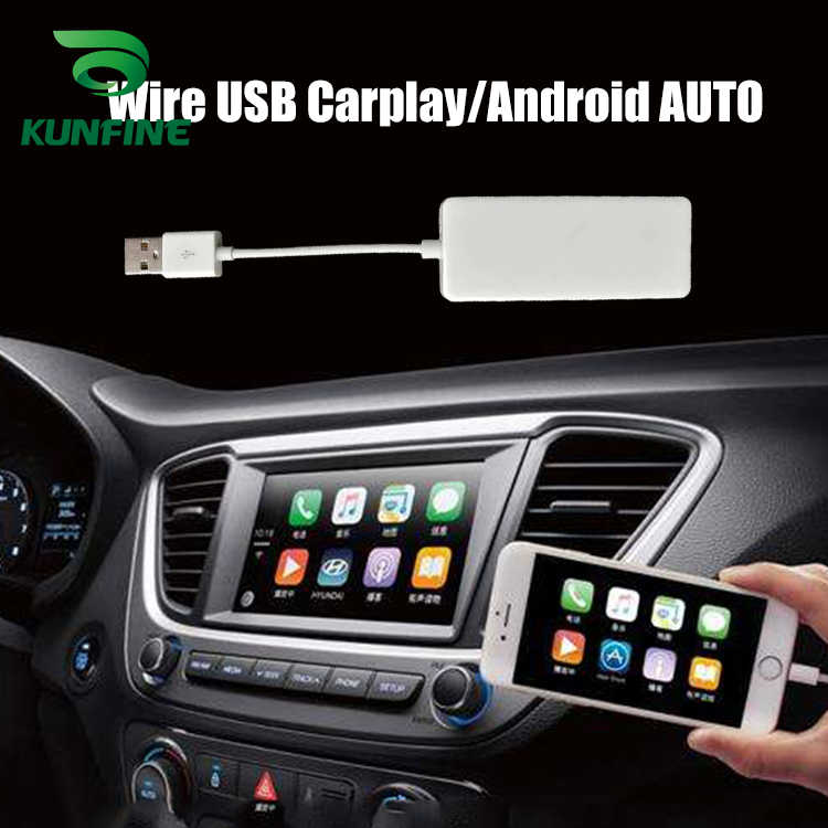 Kunfine Kawat Carplay Dongle untuk Android Mobil Stereo Unit USB Carplay Stick dengan Android Auto Carplay Adaptor