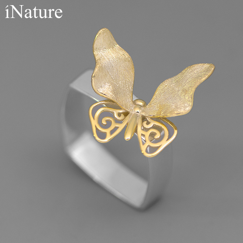 INATURE 925 Sterling Silver Luxury Butterfly Rings for Women Fashion Jewelry Finger Ring 1