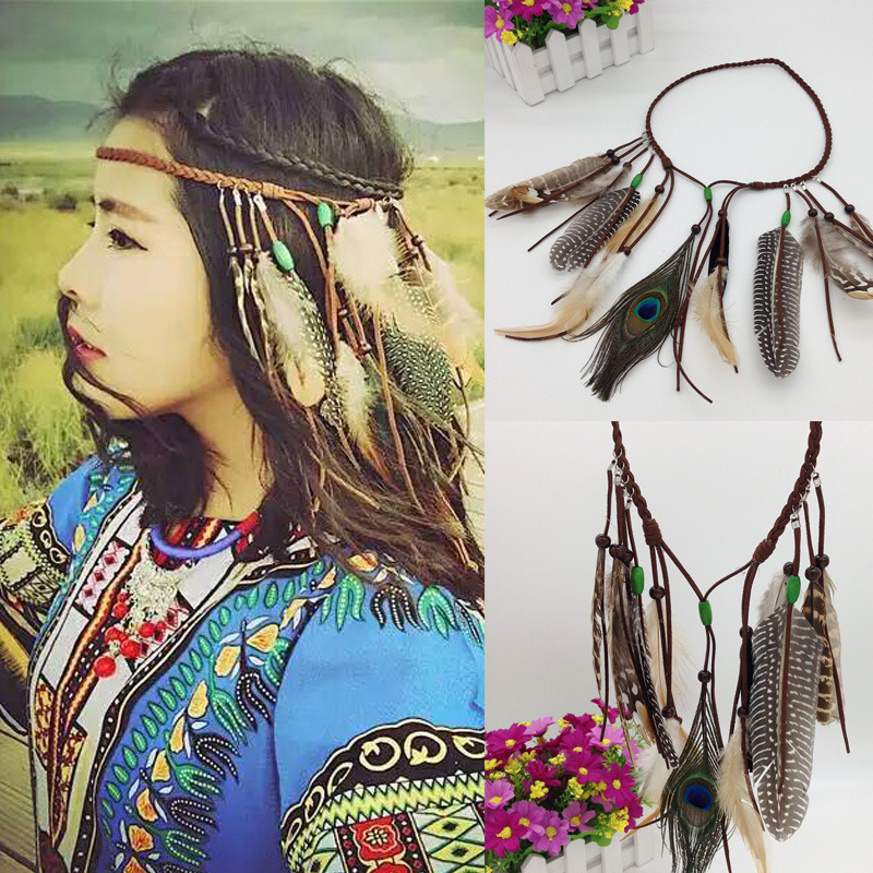 Bohemia Ethnic Indian Hippie Tassel Hair Rope Wind Wood Bead Peacock Feather Hair Accessories Tire Hair Band