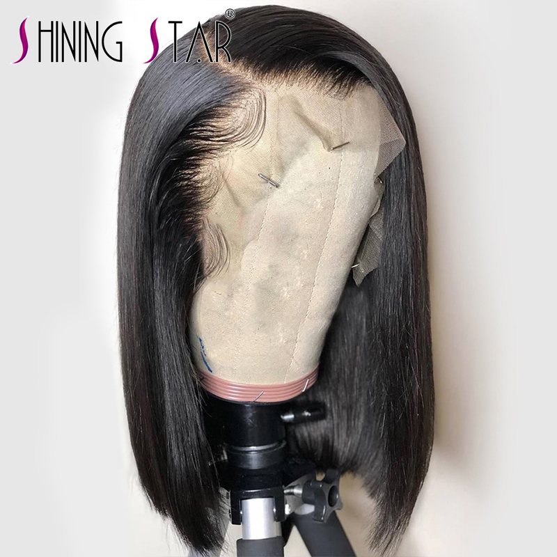 Shining Star 13*4 Short BoB Lace Front Human Hair Wigs For Black Women 180% Density Lace Frontal Wig Remy Human Hair Bob Wigs