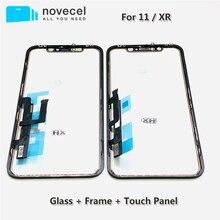 Novecel หน้าจอสัมผัสแผง Digitizer ซ่อมชิ้นส่วนกรอบสำหรับ iPhone XR 11 หน้าจอสัมผัสเซ็นเซอร์เลนส์กระจกด้านหน้า