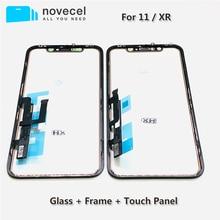 Novecel Panel digitalizador de pantalla táctil, piezas de reparación con marco para iPhone XR 11, Sensor de lente de cristal frontal