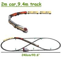 Hot Electric Racing rail car Long Steam Train 9.4 Meters Train Track model toy trains for kids Truck Railway train Railroad birt