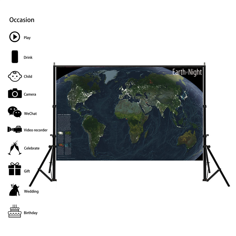 150x100cm Map Of The World Earth At Night Satellite Imagery National Geographic World Map For Education And Culture