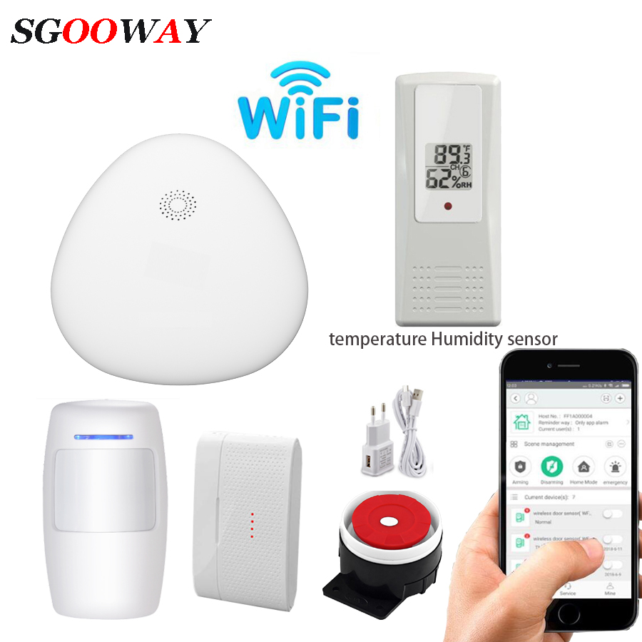 Sgooway Wireless Wifi Home Burglar Security Alarm System With  Door  Sensors Detectors Temperature Humidity Sensor
