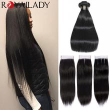 Hair Closure Straight-Bundles with Brazilian Hair-Extensions Lace Remy Long-Length