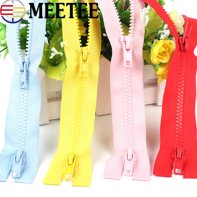 5pcs Meetee 5# Double Slider Resin Zipper Open End 50/60/70/80/100cm For DIY Bags Coat Garments Tent Craft Sewing Repair Tailor
