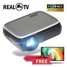 Gerçek TV M8S Full HD 1080P projektör 4K 7000 lümen sinema Beamer Android WiFi Airplay HDMI VGA AV USB hediye
