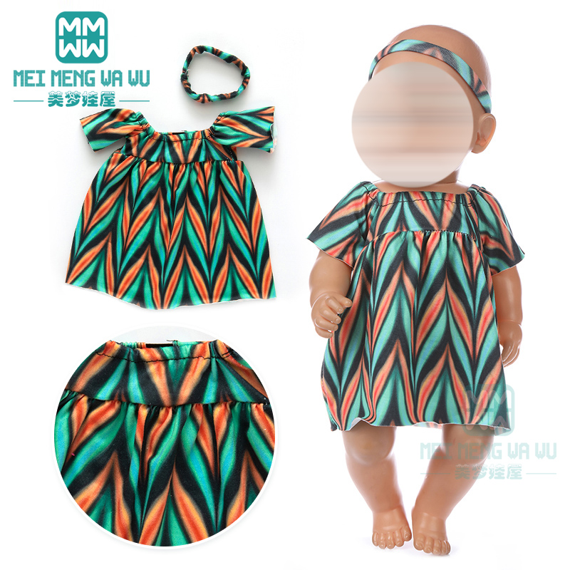 Doll Clothes Fashion Off-the-shoulder Dress For 43 Cm Toy New Born Doll Baby 18 Inch American Doll Our Generation
