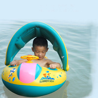 Baby Activity Inflatable Swimming Boat Pool Children Beach Toy Adjustable Sunshade PVC Safety Seat Big Horn with Steering Wheel