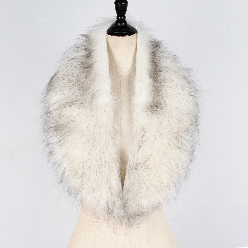 Faux Fur Collar Cape Shawl Winter Women Solid Long Hair Imitated Fur Scarves Autumn Fashion Smooth Large Shawl