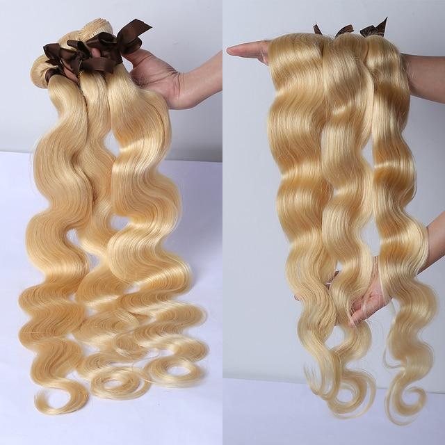613 Color onda del cuerpo 1 3 4 mechones cabello humano brasileño tejido Remy trama 28 30 40 pulgadas extensiones de cabello rubio medio ración