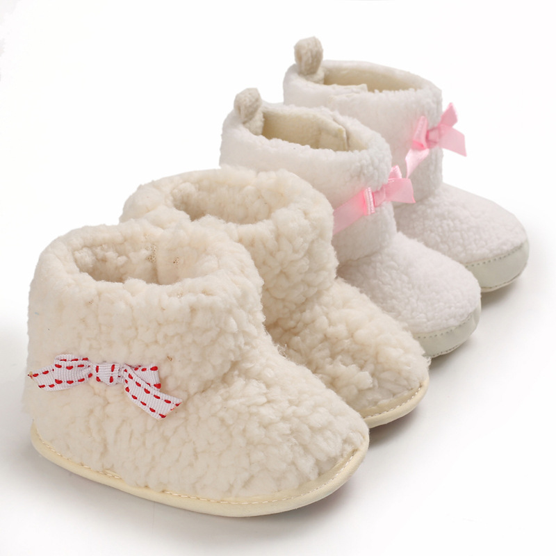 Winter Baby White Snow Boots Girls Soft Bottom Shoes 0-1 Years Old Baby Toddler Shoes Warm Infant  Shoes