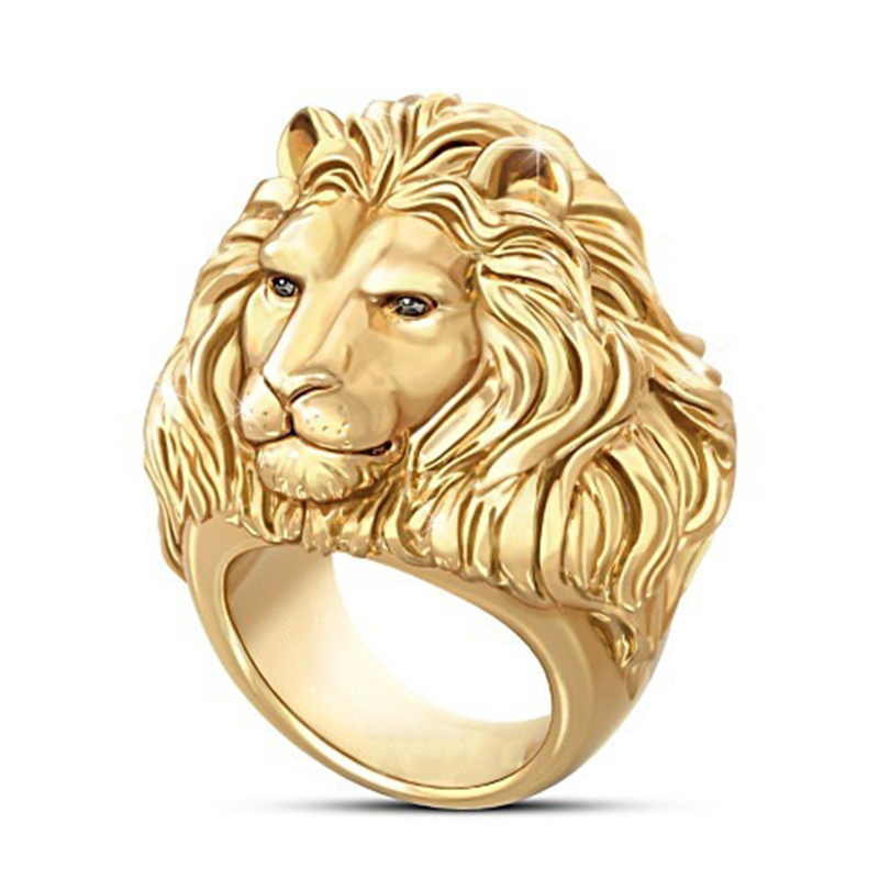 Huitan Plated Gold Lion Head Men Ring King OfForest Punk Animal Male's Jewelry Fashion And Rock Style Best Gift Rings(China)