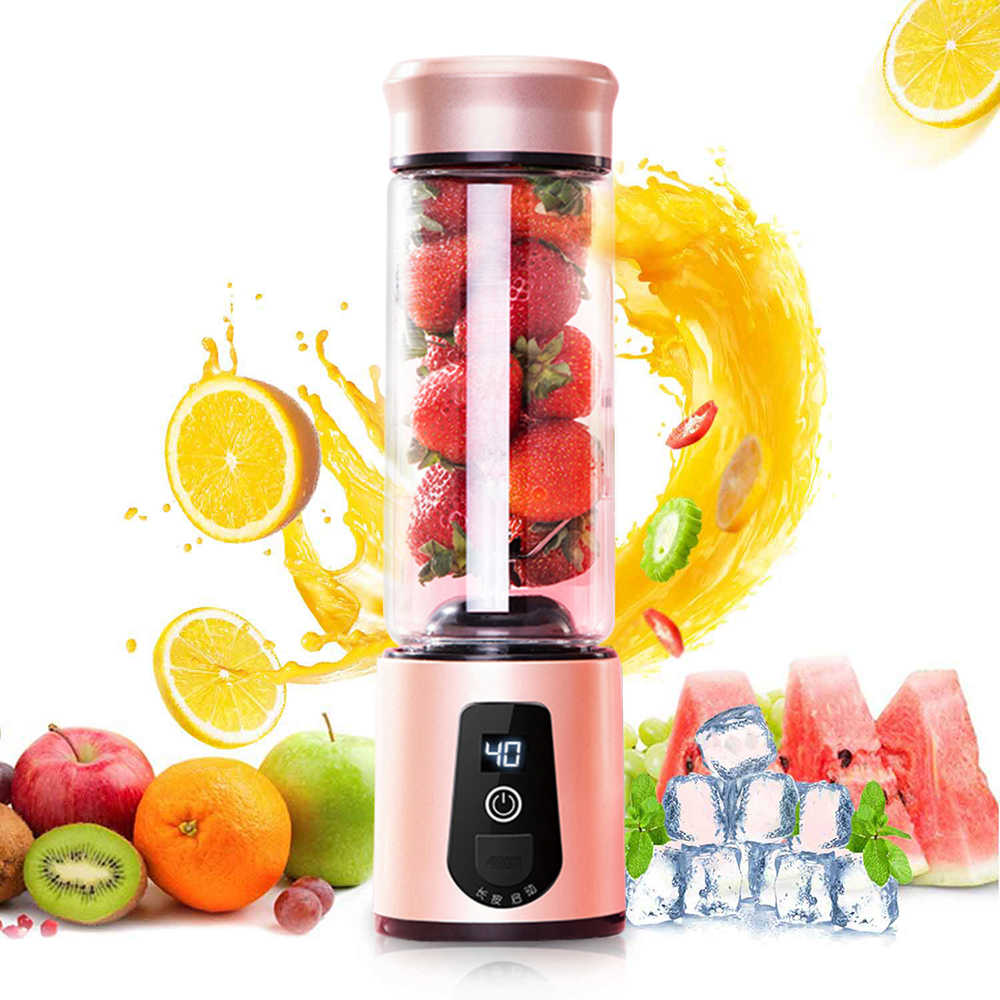 LED Portable 6 Pisau Blender Mixer Juicer Mini USB Rechargeable Blender Buah Extractor Pembuat Makanan Smoothie Juice