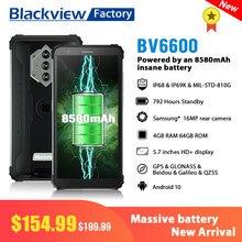 Blackview bv6600 ip68 à prova dblackágua 8580mah smartphone octa núcleo 4gb + 64gb android 10 telefone celular 16mp câmera nfc 5.7