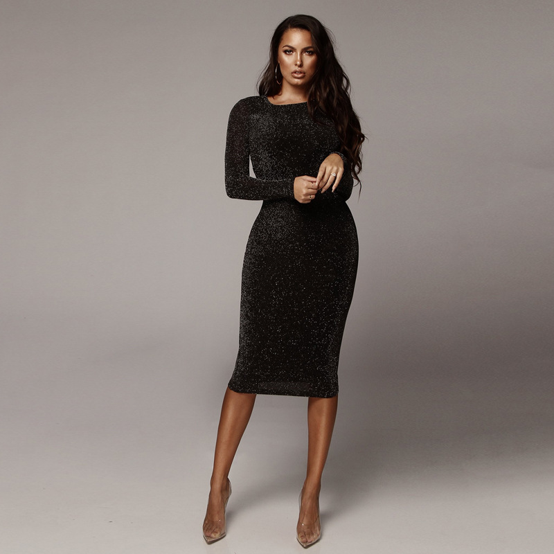 Long Sleeve Midi Dress Women Autumn Black Pencil Dresses Office Lady Fashion Elegant Slim All Match Vestido Mujer Hot Sale Price image