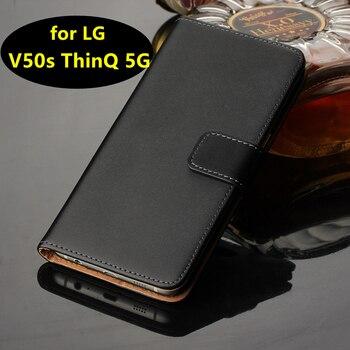 Funda de cuero Premium con tapa de lujo para LG V50s ThinQ 5G funda suave protección completa estuche con bisagra carcasa de teléfono GG