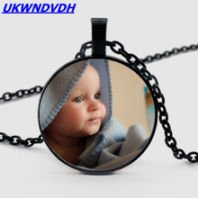 DIY custom map photo necklace baby family brothers sister grandmother personality moon jewelry