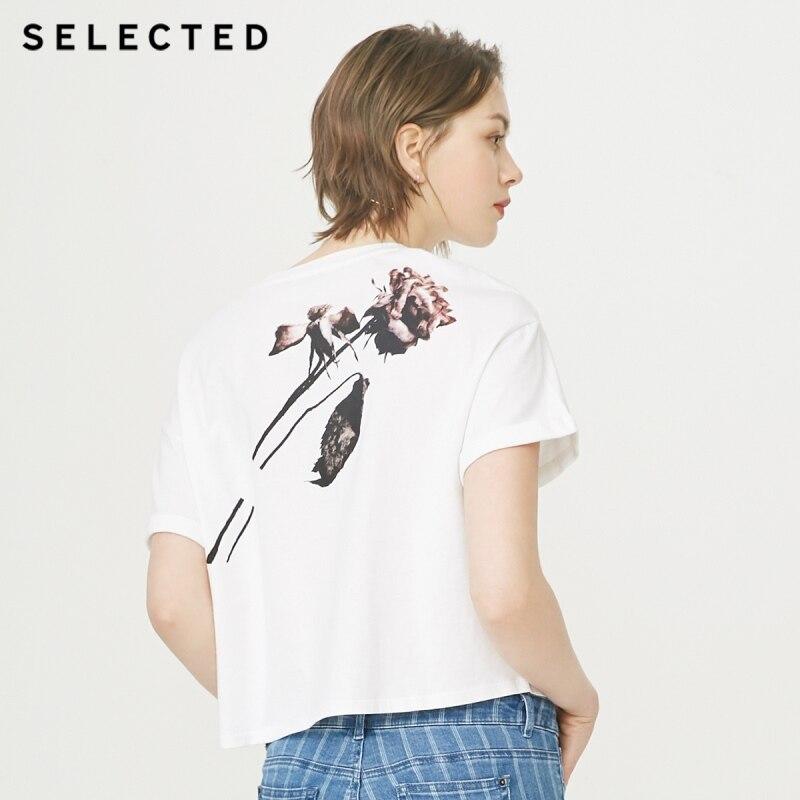 SELECTED 100% Cotton Drop-shoulder Printed Round Neckline Short-sleeved T-shirt S|419201520